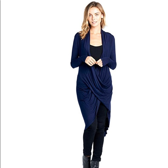 classic styles lowest price release date Navy Blue Long Wrapped High Low High Low Tunic Top